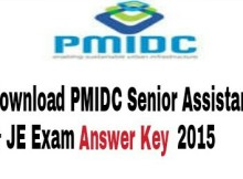 Download PMIDC Senior Assistant & JE Exam Answer key