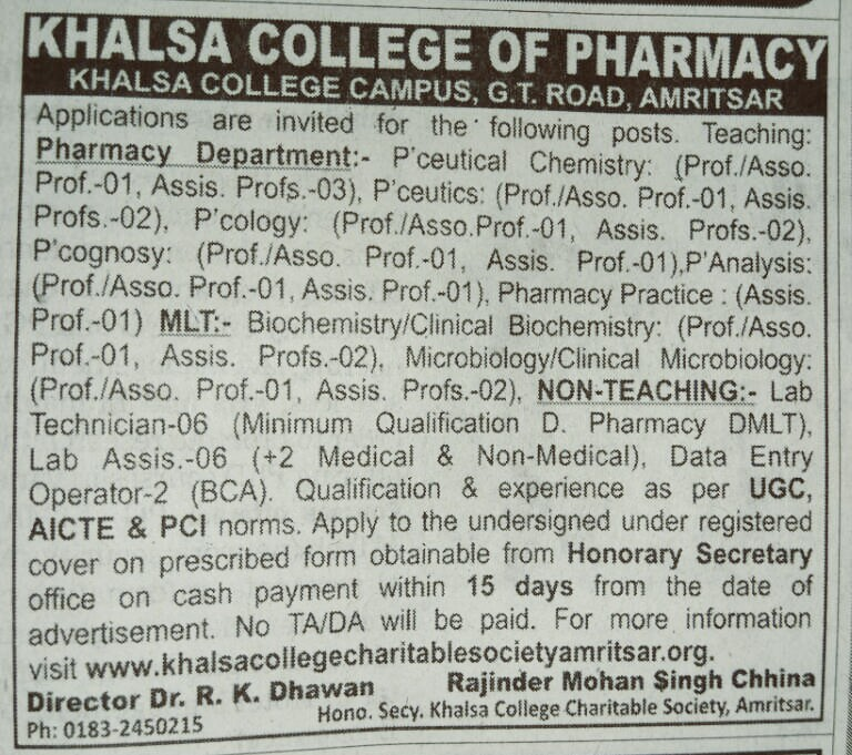 Khalsa pharmacy College Amritsar Recruitment