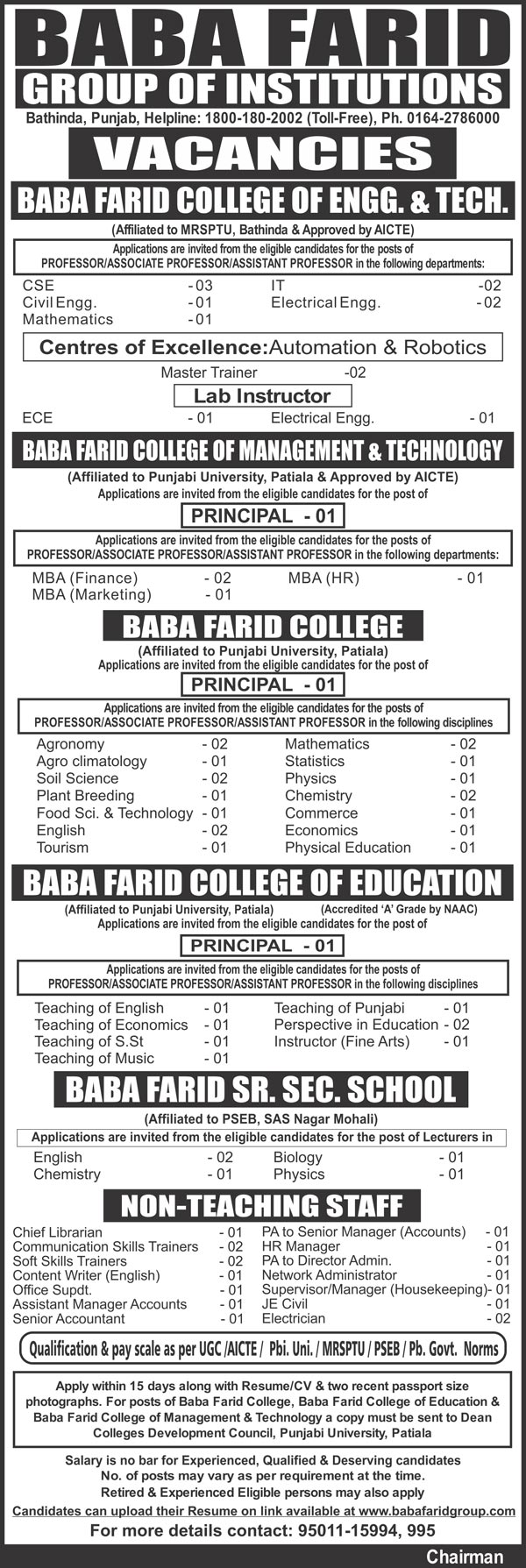 Baba farid  college teaching jobs