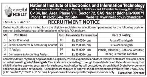 Nielit recruitment 2017