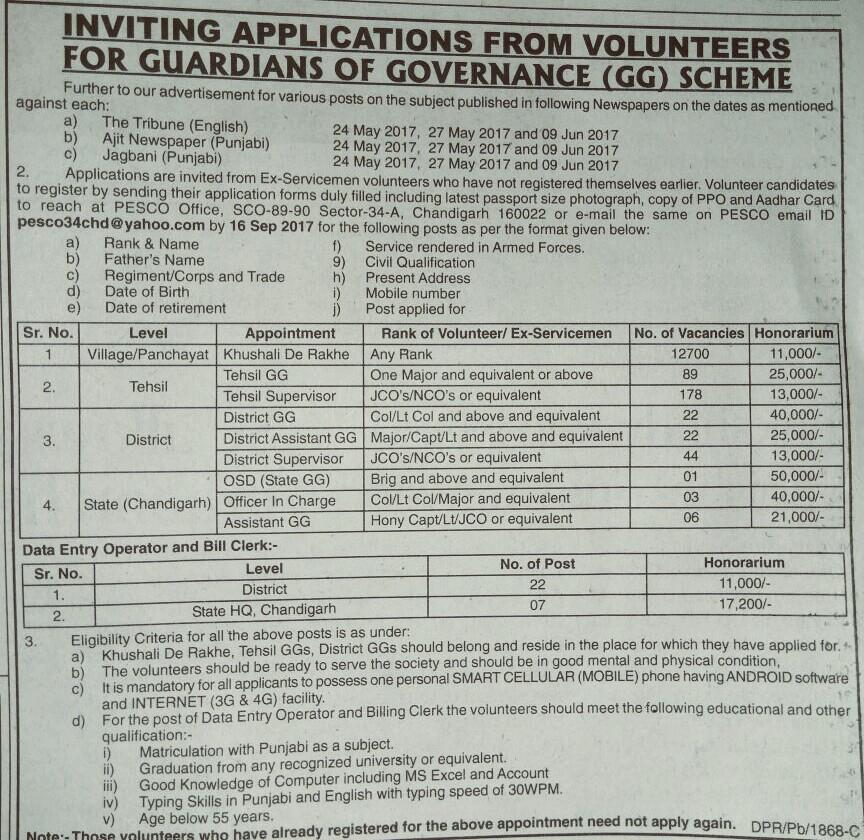 Volunteers recruitment