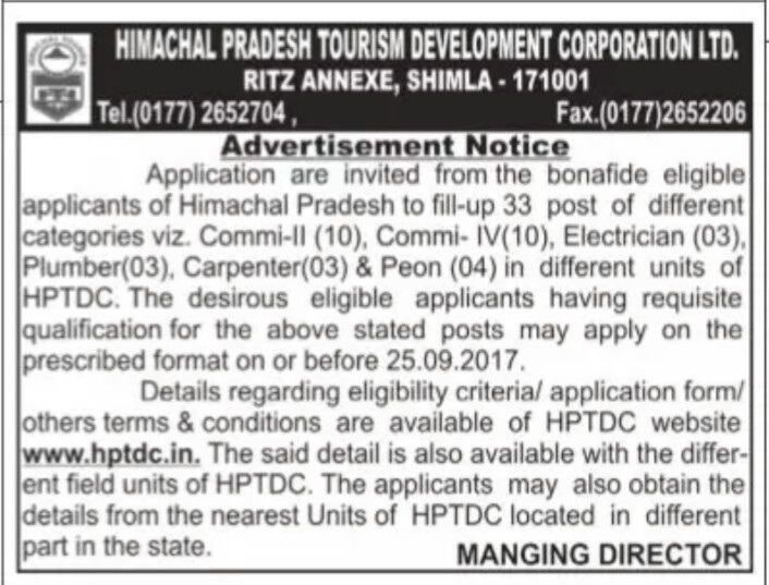 Himachal Tourism Department Recruitment