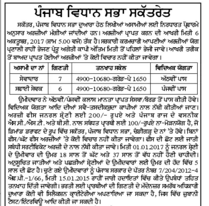 Punjab lok sabha Peon vacancies