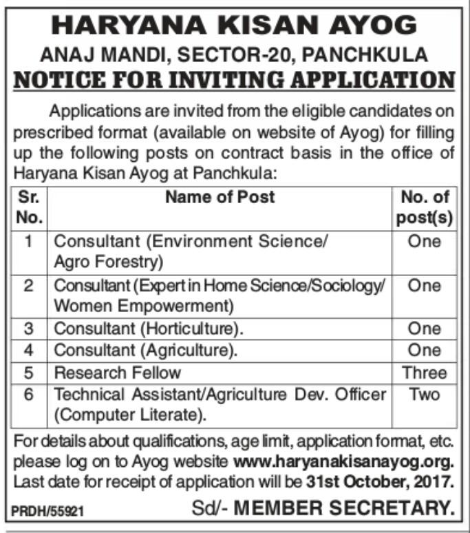 Haryana kisan ayog Recruitment