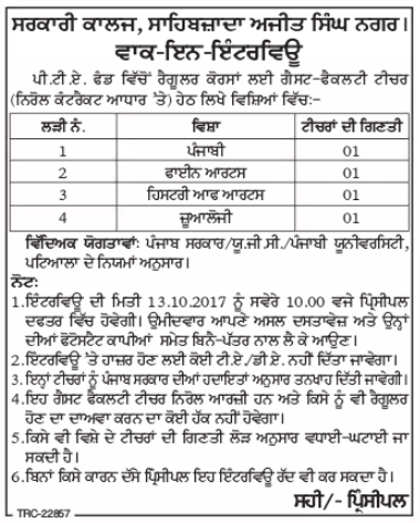 govt college sas nagar recruitment