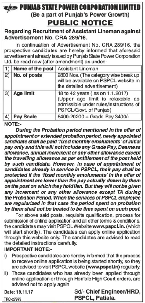 Pspcl 2800 lineman vacancies