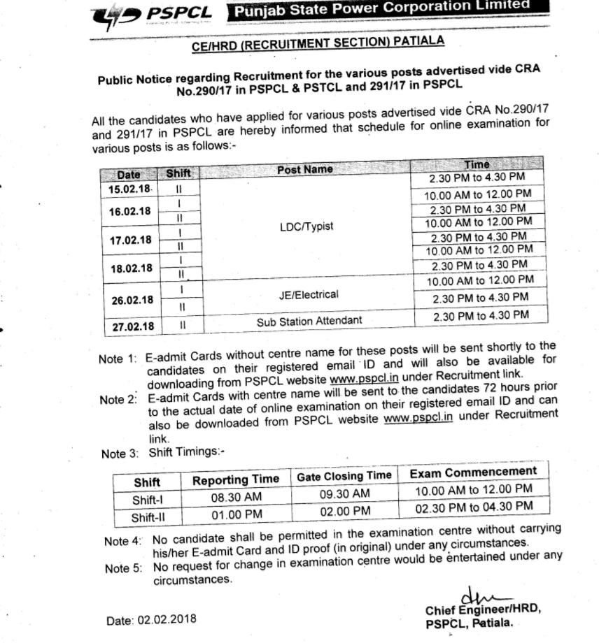 pspcl exam dates 2018
