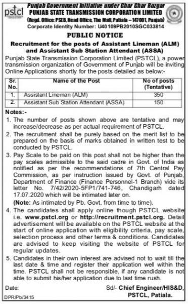 pstcl 350 lineman vacancies