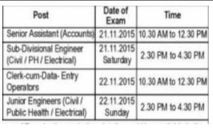Puda exam schedule