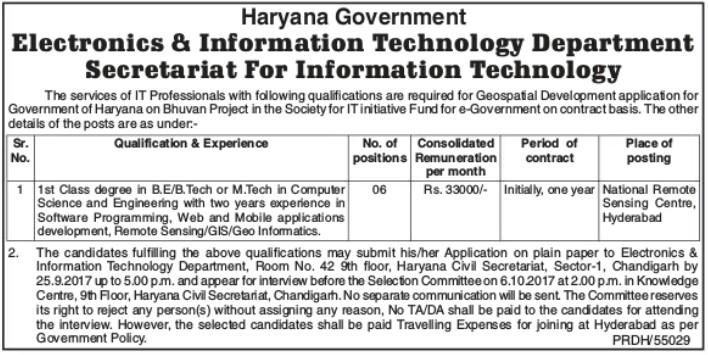 Haryana govt it dept recruitment