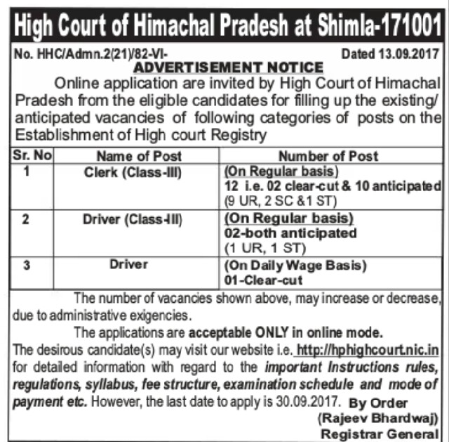 Shimla high court jobs