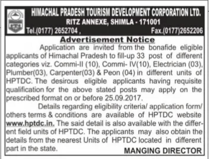 Himachal Tourism Department Recruitment