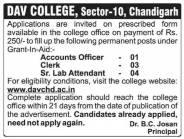 Dav Chandigarh Recruitment