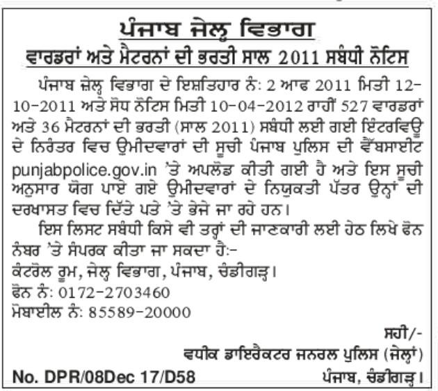 Punjab Jail dept merit list