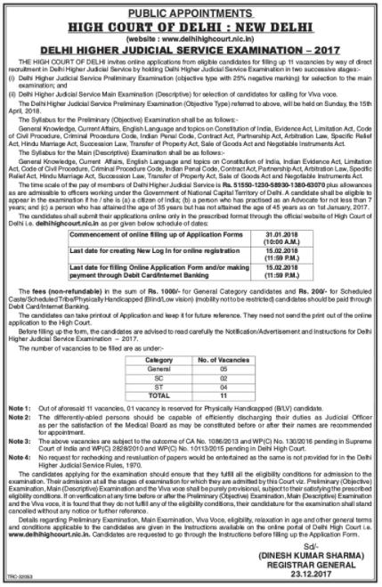 dehi judicial service exam