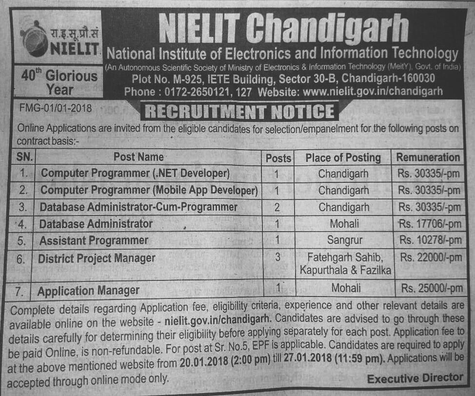 Nielit recruitment 2018