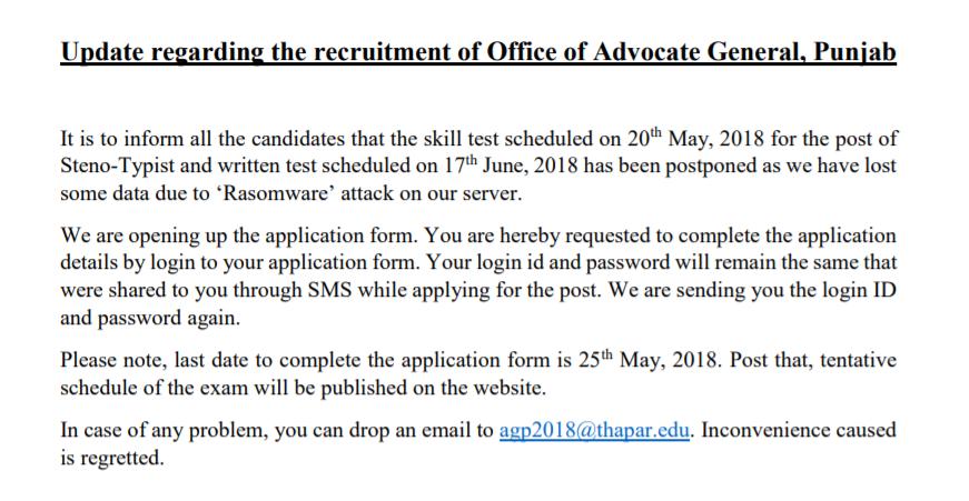 advocate gen exam postponed