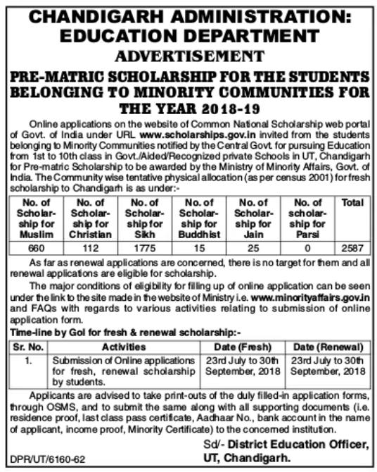 chandigarh scholarship 2018